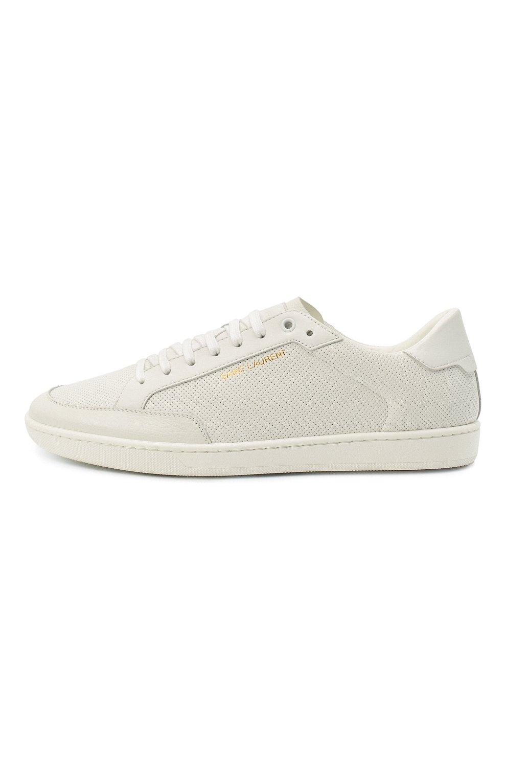 Мужские кожаные кеды court classic sl/10 SAINT LAURENT белого цвета, арт. 603223/1JZ10 | Фото 4 (Материал внутренний: Натуральная кожа; Подошва: Плоская)