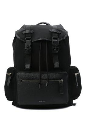 Мужской комбинированный рюкзак GIORGIO ARMANI черного цвета, арт. Y20133/YI68E   Фото 1