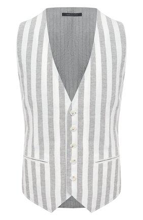 Мужской жилет изо льна и вискозы GIORGIO ARMANI серого цвета, арт. 1SGGK020/T02GT | Фото 1