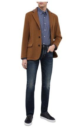 Мужская хлопковая рубашка ERMENEGILDO ZEGNA синего цвета, арт. UVX07/SAL2 | Фото 2 (Стили: Кэжуэл; Рукава: Длинные; Воротник: Кент; Рубашки М: Regular Fit; Длина (для топов): Стандартные; Материал внешний: Хлопок; Случай: Повседневный; Принт: Клетка; Манжеты: На пуговицах)