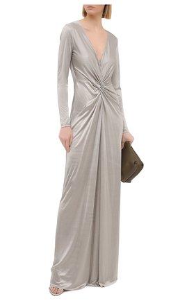 Женское платье из вискозы RALPH LAUREN серого цвета, арт. 290824121 | Фото 2