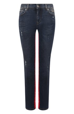 Женские джинсы DOLCE & GABBANA синего цвета, арт. FTBU9D/G8BB4   Фото 1 (Стили: Кэжуэл; Длина (брюки, джинсы): Стандартные; Кросс-КТ: Деним; Детали: Потертости; Материал внешний: Хлопок)