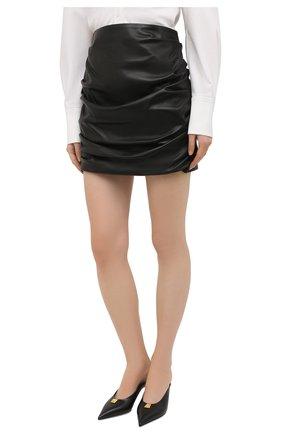 Женская кожаная юбка DOLCE & GABBANA черного цвета, арт. F4BZ0L/HULAW   Фото 3