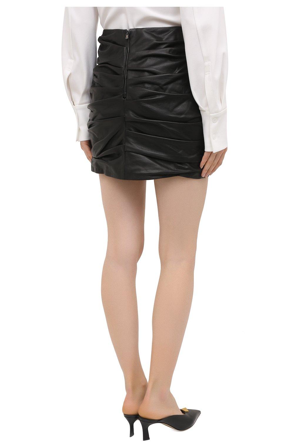 Женская кожаная юбка DOLCE & GABBANA черного цвета, арт. F4BZ0L/HULAW   Фото 4