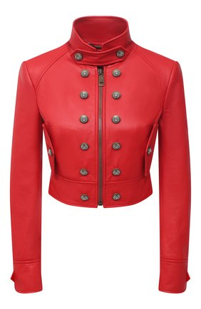 Женская кожаная куртка DOLCE & GABBANA красного цвета, арт. F28TUL/HULF5 | Фото 1