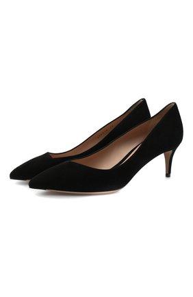 Женские замшевые туфли GIORGIO ARMANI черного цвета, арт. X1E718/XC067 | Фото 1 (Подошва: Плоская; Каблук тип: Kitten heel; Материал внутренний: Натуральная кожа; Каблук высота: Низкий)