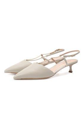 Женские кожаные туфли GIORGIO ARMANI светло-серого цвета, арт. X1F173/XF491 | Фото 1