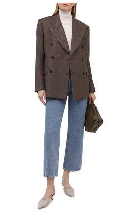 Женские кожаные туфли GIORGIO ARMANI светло-серого цвета, арт. X1F173/XF491 | Фото 2