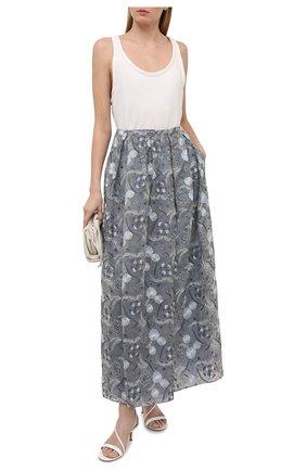 Женская шелковая юбка GIORGIO ARMANI светло-серого цвета, арт. 1SHNN04L/T02BB | Фото 2