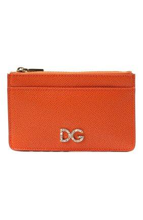 Женский кожаный футляр для кредитных карт DOLCE & GABBANA оранжевого цвета, арт. BI1261/AU771 | Фото 1