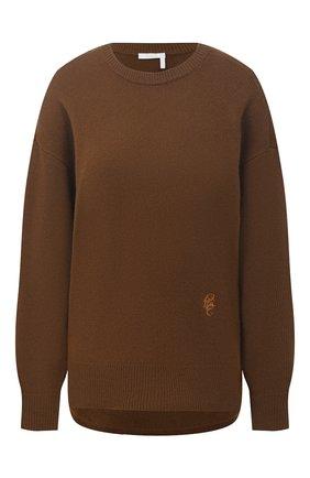 Женский кашемировый пуловер CHLOÉ хаки цвета, арт. CHC21SMP77500 | Фото 1