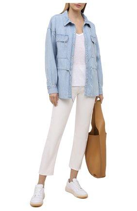 Женская хлопковая рубашка ISABEL MARANT ETOILE голубого цвета, арт. CH0735-21P023E/MADRAS   Фото 2