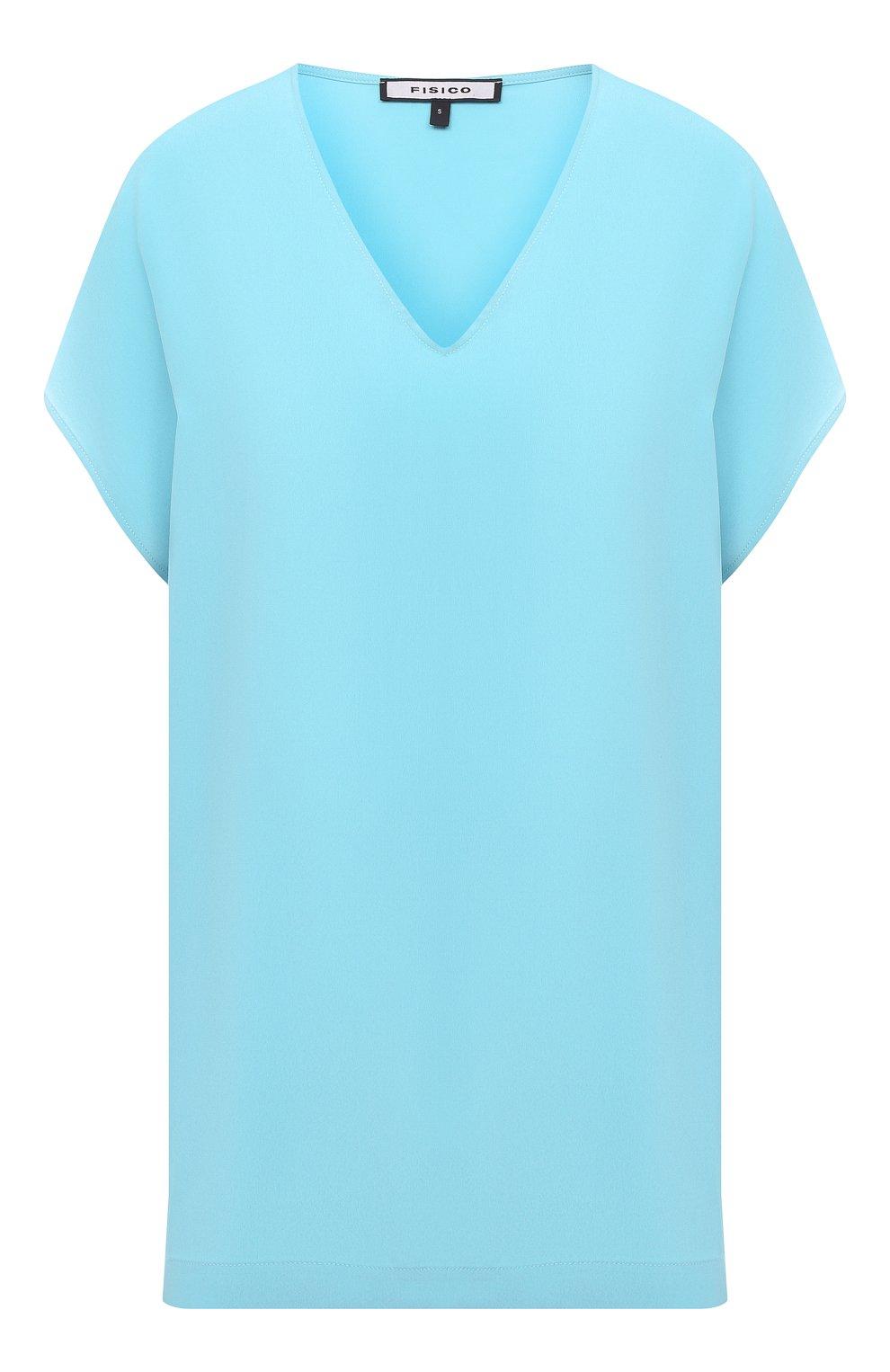 Женский топ FISICO голубого цвета, арт. S1/F/FM99C0   Фото 1 (Материал внешний: Шелк, Синтетический материал; Рукава: Короткие; Длина (для топов): Удлиненные; Кросс-КТ: с рукавом)