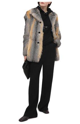 Женская шуба из меха лисы SAINT LAURENT разноцветного цвета, арт. 648337/Y7RG2   Фото 2 (Материал внешний: Натуральный мех; Стили: Гламурный; Материал подклада: Купро; Рукава: Длинные; Длина (верхняя одежда): До середины бедра)