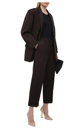 Женские замшевые туфли opyum SAINT LAURENT бежевого цвета, арт. 472011/0LIJJ | Фото 2