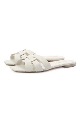 Женские кожаные шлепанцы nu pieds SAINT LAURENT белого цвета, арт. 571952/BZC00 | Фото 1 (Материал внутренний: Натуральная кожа; Подошва: Плоская; Каблук высота: Низкий)