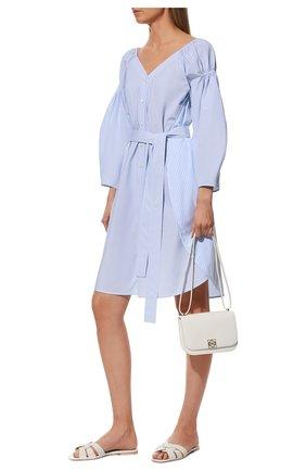 Женские кожаные шлепанцы nu pieds SAINT LAURENT белого цвета, арт. 571952/BZC00 | Фото 2 (Материал внутренний: Натуральная кожа; Подошва: Плоская; Каблук высота: Низкий)