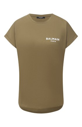 Женская хлопковая футболка BALMAIN хаки цвета, арт. ZF41351/B025 | Фото 1
