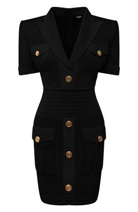 Женское платье из вискозы BALMAIN черного цвета, арт. VF16153/K223 | Фото 1