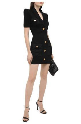 Женское платье из вискозы BALMAIN черного цвета, арт. VF16153/K223 | Фото 2