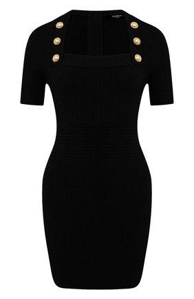 Женское платье из вискозы BALMAIN черного цвета, арт. VF16152/K211 | Фото 1