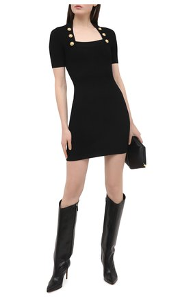 Женское платье из вискозы BALMAIN черного цвета, арт. VF16152/K211 | Фото 2