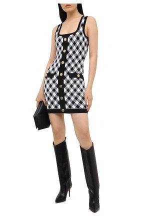 Женское платье из вискозы BALMAIN черно-белого цвета, арт. VF16057/K213 | Фото 2