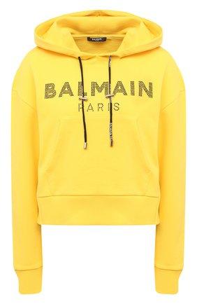 Женский хлопковое худи BALMAIN желтого цвета, арт. VF13792/B010 | Фото 1
