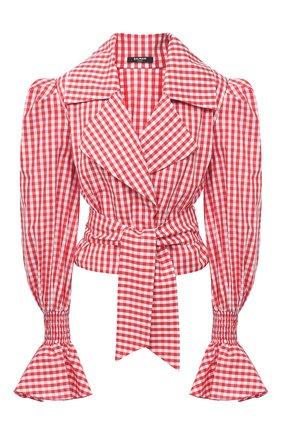 Женская хлопковая блузка BALMAIN красного цвета, арт. VF12699/C280 | Фото 1
