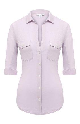Женская хлопковая рубашка JAMES PERSE сиреневого цвета, арт. WUA3042 | Фото 1
