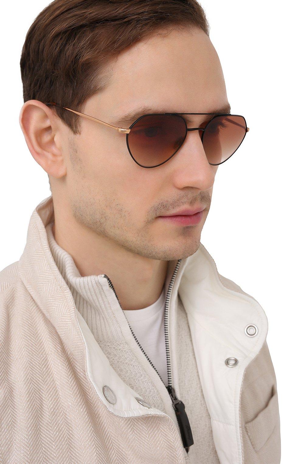 Мужские солнцезащитные очки GIORGIO ARMANI коричневого цвета, арт. AR6111 | Фото 2
