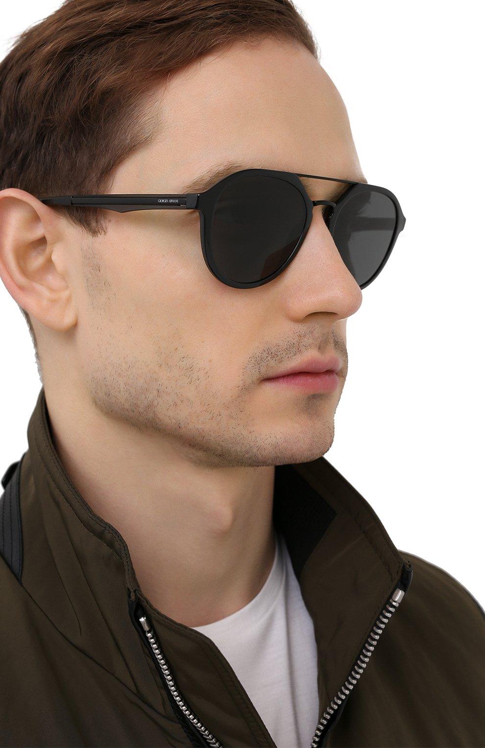 Мужские солнцезащитные очки GIORGIO ARMANI черного цвета, арт. AR8131   Фото 2