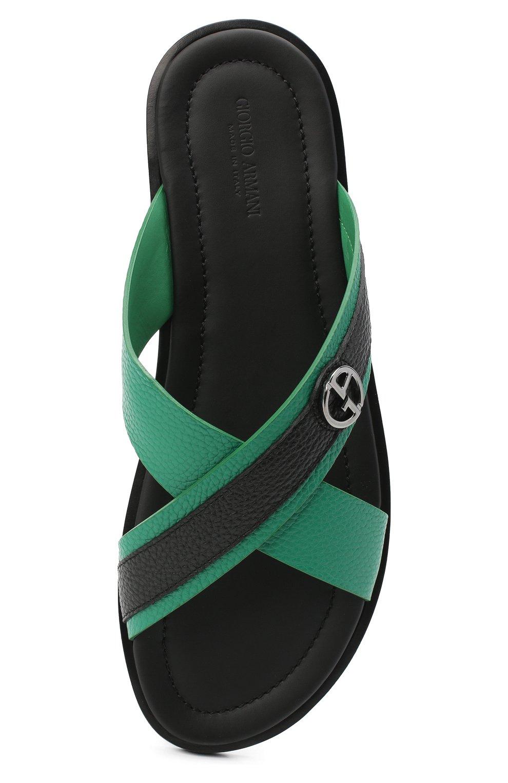 Мужские кожаные шлепанцы GIORGIO ARMANI зеленого цвета, арт. X2P045/XM838 | Фото 5