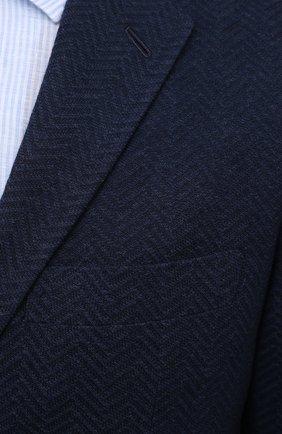 Мужской пиджак из хлопка и кашемира KNT синего цвета, арт. UGS0101K06T70   Фото 5 (Случай: Коктейльный; Рукава: Длинные; Длина (для топов): Стандартные; Материал внешний: Хлопок; Стили: Классический; 1-2-бортные: Однобортные; Пиджаки М: Прямой; Материал подклада: Купро)