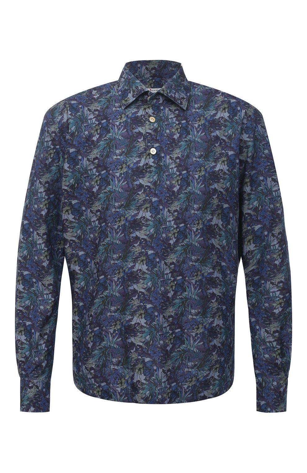 Мужская хлопковая рубашка KITON темно-синего цвета, арт. UMCP0SH0767702 | Фото 1
