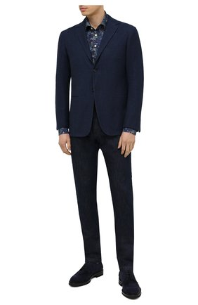 Мужская хлопковая рубашка KITON темно-синего цвета, арт. UMCP0SH0767702 | Фото 2