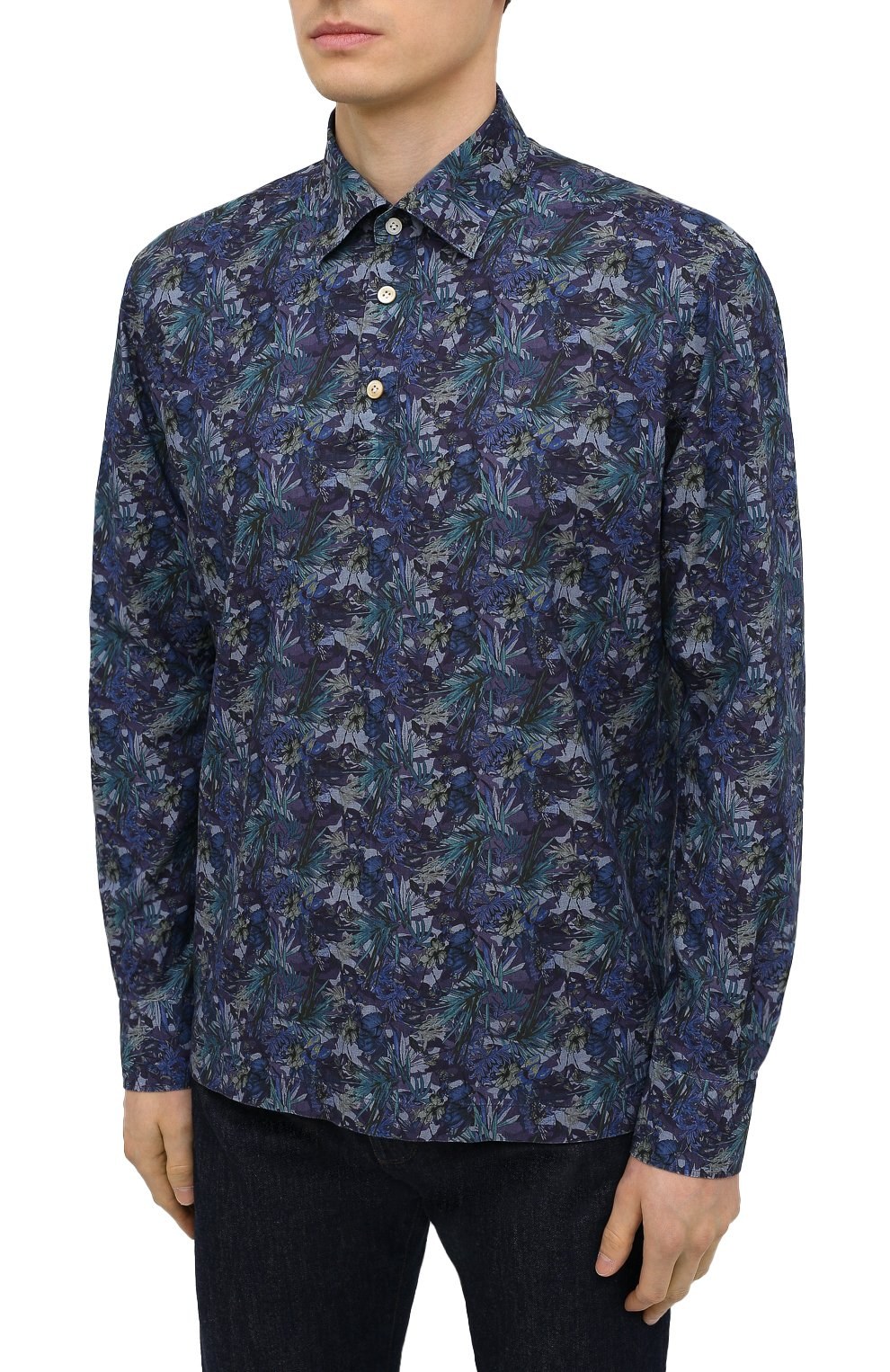 Мужская хлопковая рубашка KITON темно-синего цвета, арт. UMCP0SH0767702 | Фото 3
