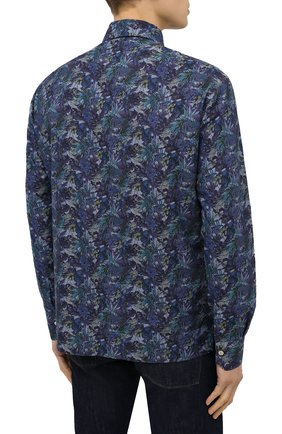 Мужская хлопковая рубашка KITON темно-синего цвета, арт. UMCP0SH0767702 | Фото 4