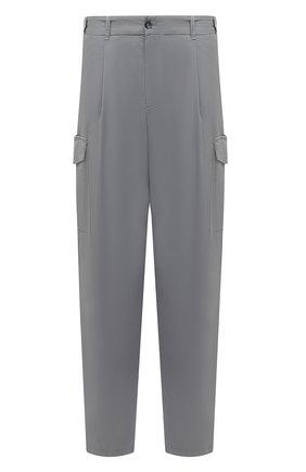 Мужские хлопковые брюки-карго GIORGIO ARMANI серого цвета, арт. 1SGPP0GT/T02EY | Фото 1 (Случай: Повседневный; Силуэт М (брюки): Карго; Стили: Кэжуэл; Материал внешний: Хлопок; Длина (брюки, джинсы): Стандартные)