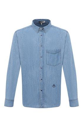 Мужская джинсовая рубашка ISABEL MARANT голубого цвета, арт. CH0645-21P020H/LAK0 P | Фото 1 (Случай: Повседневный; Кросс-КТ: Деним; Воротник: Кент; Принт: Однотонные; Рукава: Длинные; Манжеты: На кнопках; Длина (для топов): Стандартные; Материал внешний: Хлопок, Деним; Стили: Классический)