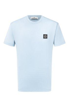 Мужская хлопковая футболка STONE ISLAND голубого цвета, арт. 741524113   Фото 1