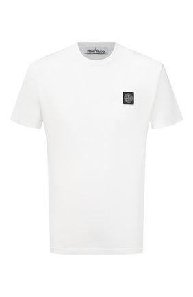 Мужская хлопковая футболка STONE ISLAND белого цвета, арт. 741524113 | Фото 1