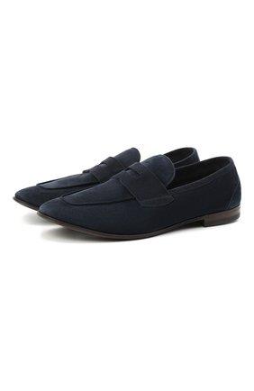 Мужские замшевые пенни-лоферы H`D`S`N BARACCO темно-синего цвета, арт. 71400.S.0* | Фото 1 (Стили: Классический; Мужское Кросс-КТ: Лоферы-обувь; Материал внутренний: Натуральная кожа; Материал внешний: Замша)