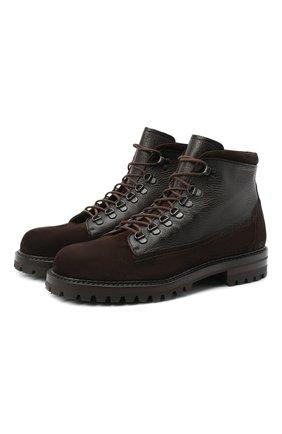 Мужские комбинированные ботинки ANTONIO MAURIZI темно-коричневого цвета, арт. 1024/R0DE0+CERV0 | Фото 1