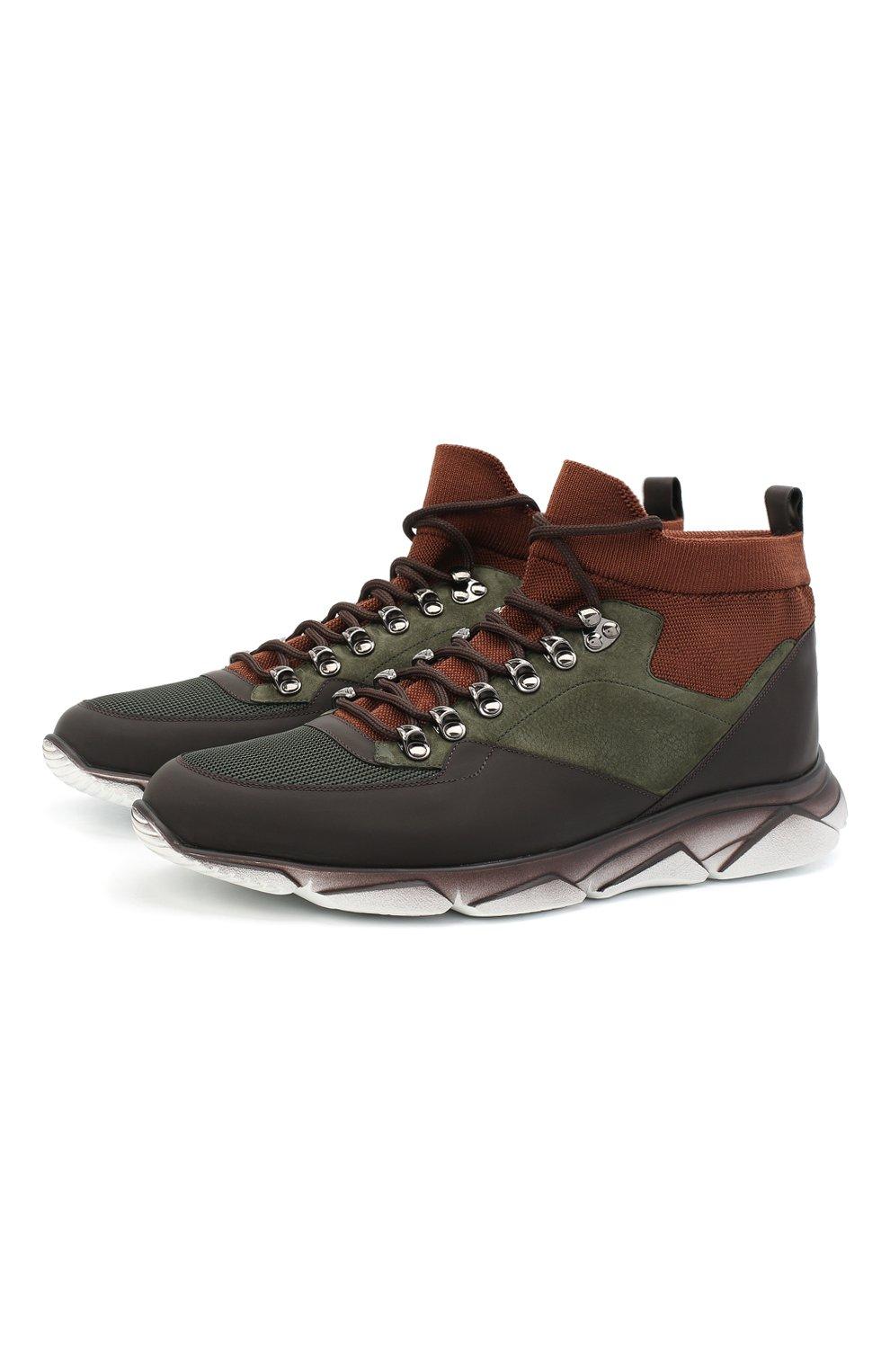 Мужские комбинированные кроссовки ZILLI хаки цвета, арт. MDU-T135/0A1   Фото 1