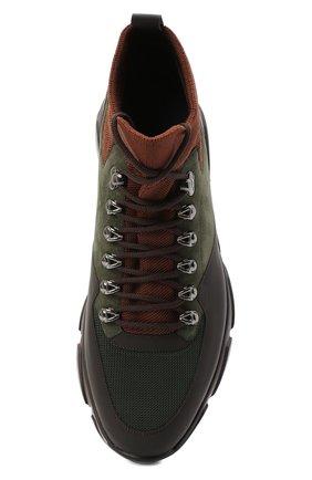 Мужские комбинированные кроссовки ZILLI хаки цвета, арт. MDU-T135/0A1   Фото 5