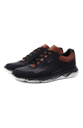 Мужские комбинированные кроссовки ZILLI черного цвета, арт. MDU-T136/0A2 | Фото 1