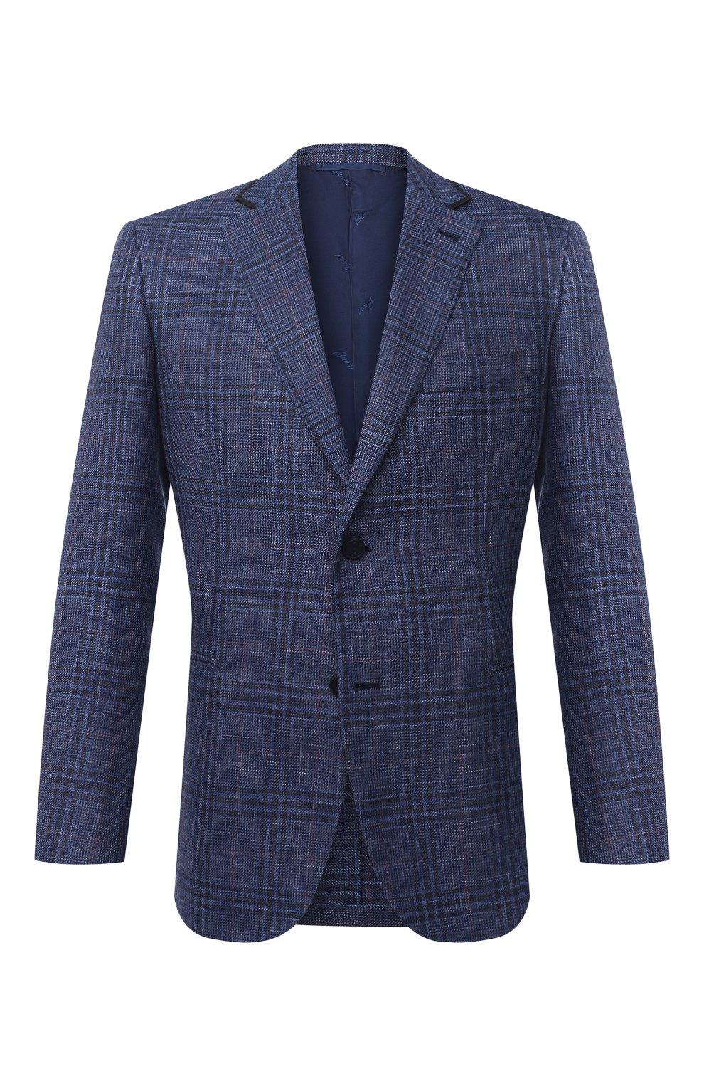 Мужской пиджак из шерсти и шелка BRIONI синего цвета, арт. RG070L/P0A3W/D0R0TE0 | Фото 1