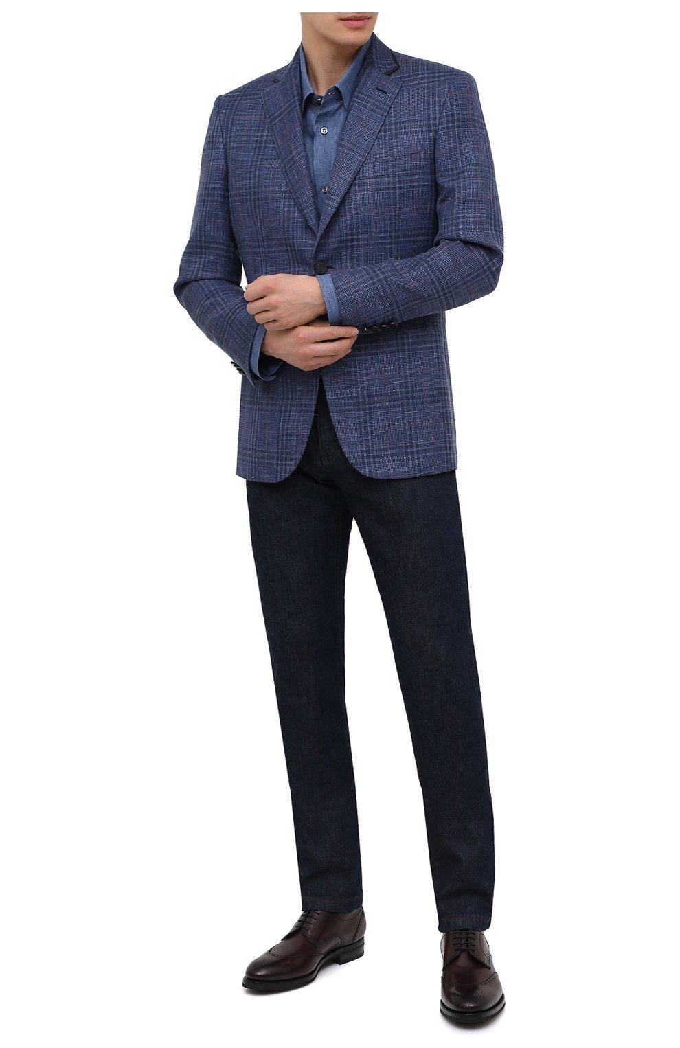 Мужской пиджак из шерсти и шелка BRIONI синего цвета, арт. RG070L/P0A3W/D0R0TE0 | Фото 2
