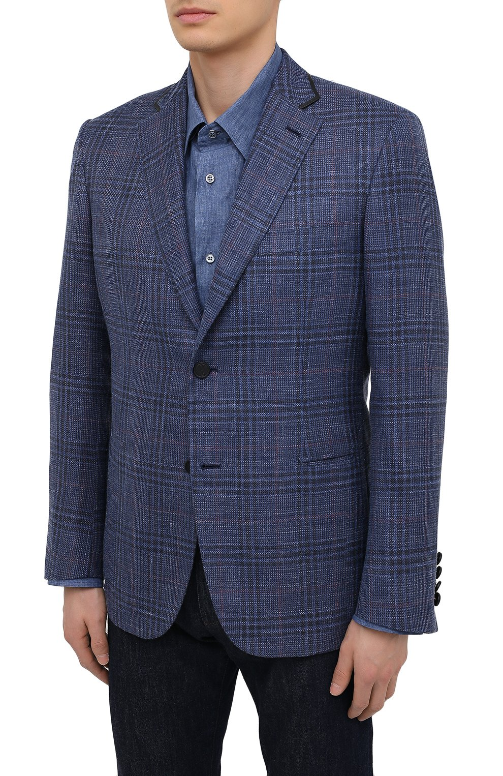 Мужской пиджак из шерсти и шелка BRIONI синего цвета, арт. RG070L/P0A3W/D0R0TE0 | Фото 3